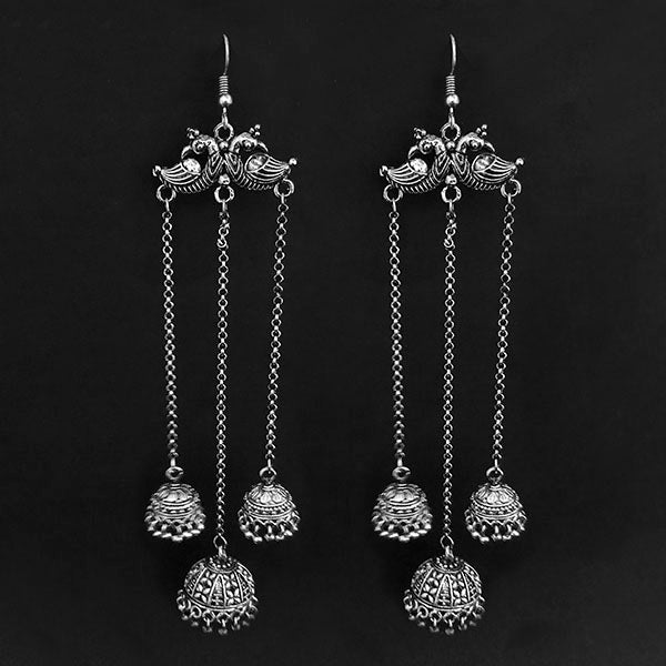 Jeweljunk Oxidised Plated Hanging Jhumki Earrings