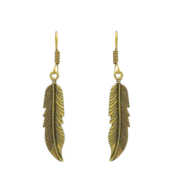Jeweljunk Feather Design Antique Gold Plated Dangler Earrings