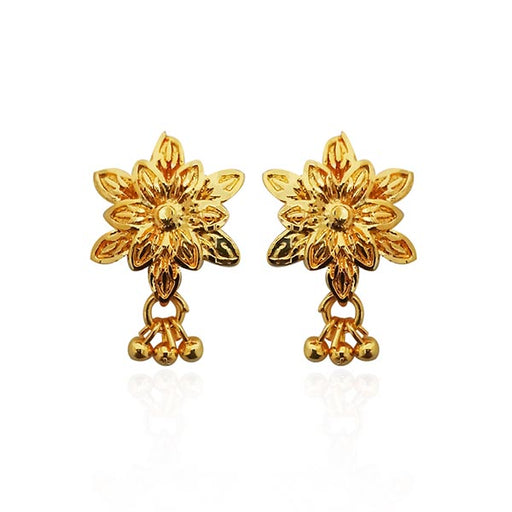 Kriaa Gold Plated Floral Design Stud Earrings