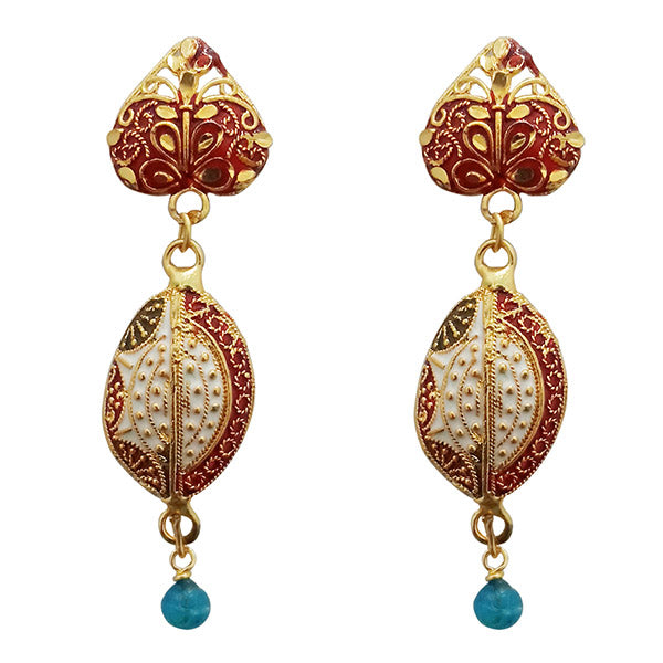 Kriaa Maroon Meenakari Gold Plated Dangler Earrings