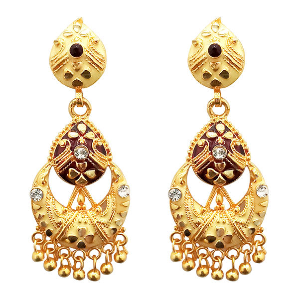 Kriaa Gold Plated Meenakari Dangler Earrings