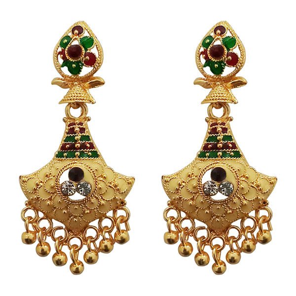 Kriaa Maroon And Green Meenakari Gold Plated Dangler Earrings