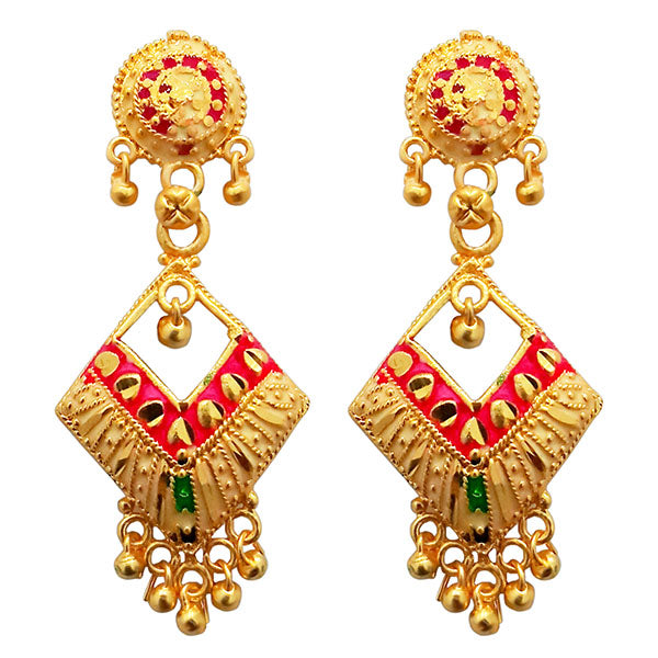 Kriaa Pink Meenakari Gold Plated Dangler Earrings