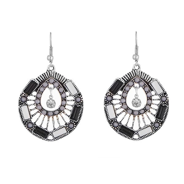 Urthn White Resin Stone Rhodium Plated Dangler Earrings