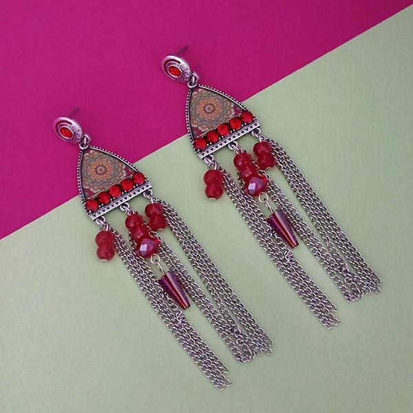Urthn Rhodium Plated Maroon Stone Chain Drop Tassel Earrings - 1311826B