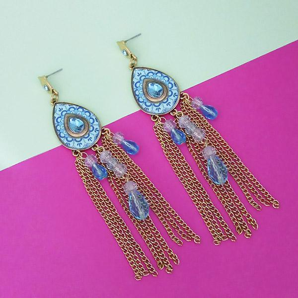 Urthn Blue Stone Rhodium Plated Chain Drop Tassel Earrings - 1311828A