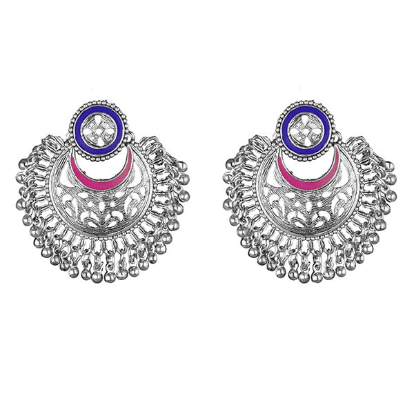 Kriaa Blue And Pink Meenakari Silver Plated Afghani Earrings