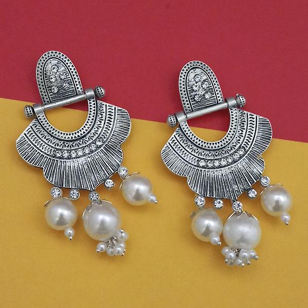 Jeweljunk Oxidised Pearl Dangler Earrings