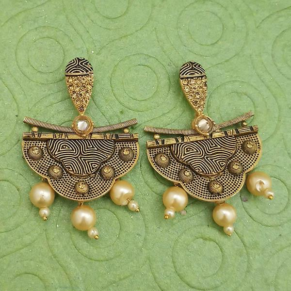 Jeweljunk Gold Plated Pearl Dangler Earrings