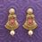 Kriaa Antique Gold Plated Pink Stone Dangler Earrings