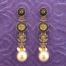Kriaa Antique Gold Plated Pink Stone Pearl Dangler Earrings