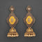 Kriaa Gold Plated Stone And Yellow Meenakari Matte Dangler Earrings - 1312047A