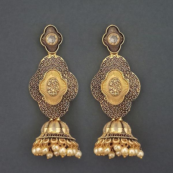 Kriaa Gold Plated Stone And Gold Meenakari Matte Dangler Earrings