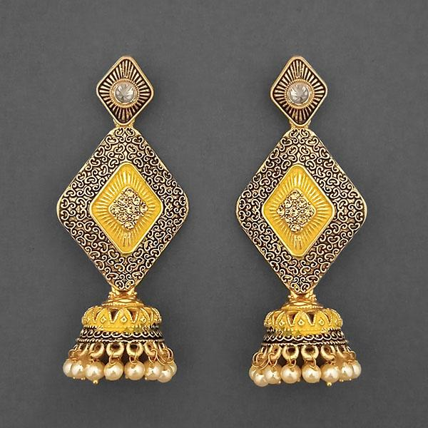 Kriaa Gold Plated Stone And Yellow Meenakari Matte Dangler Earrings