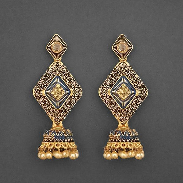 Kriaa Gold Plated Stone And Blue Meenakari Matte Dangler Earrings