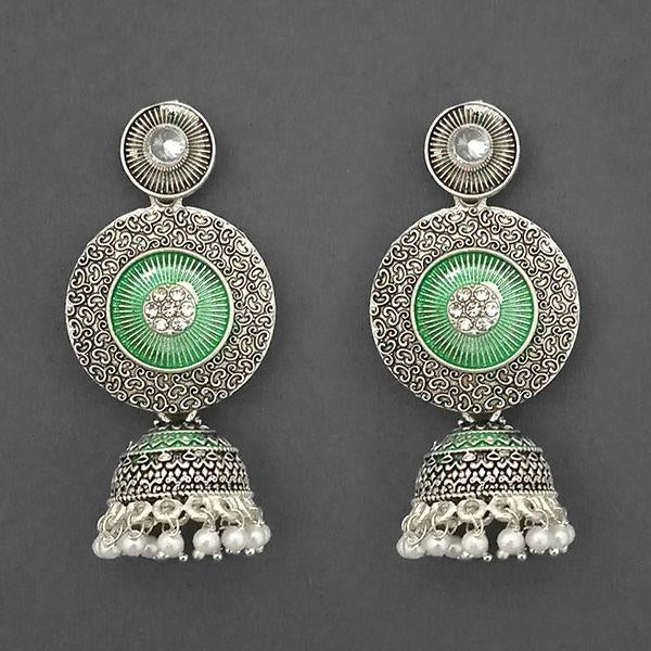 Kriaa Silver Plated Stone And Green Meenakari Matte Dangler Earrings