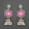 Kriaa Silver Plated Stone And Pink Meenakari Matte Dangler Earrings