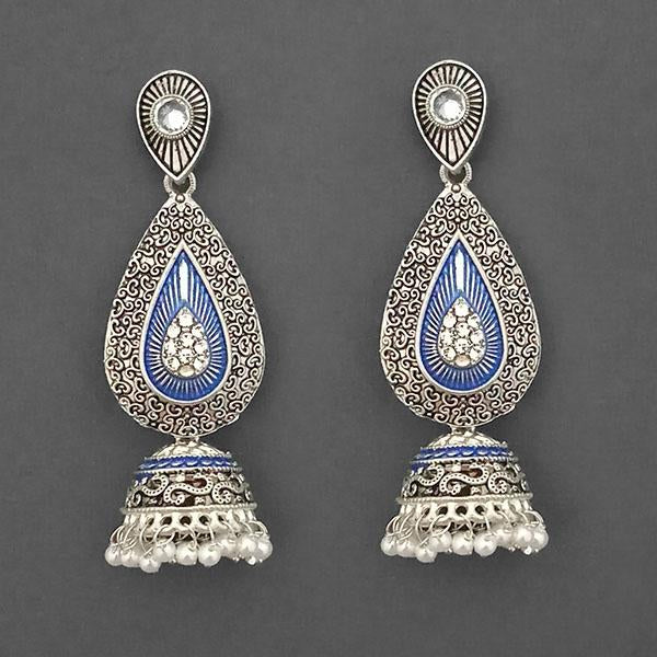 Kriaa Silver Plated Stone And Blue Meenakari Matte Dangler Earrings