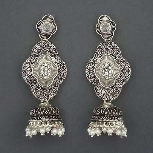 Kriaa Silver Plated Stone And Silver Meenakari Matte Dangler Earrings