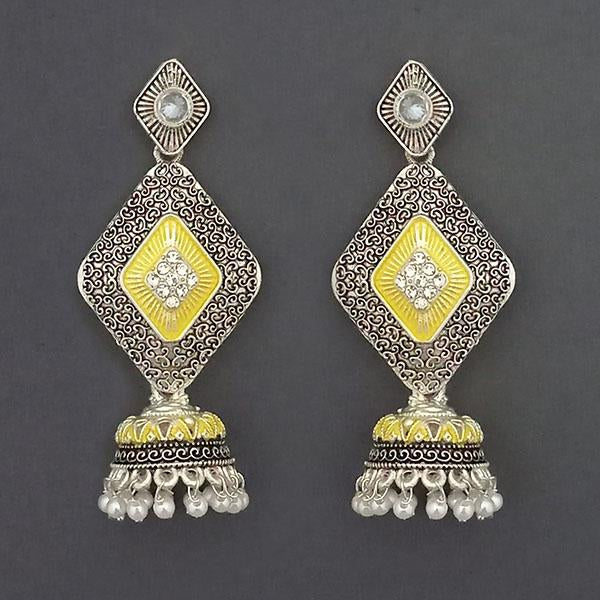 Kriaa Silver Plated Stone And Yellow Meenakari Matte Dangler Earrings