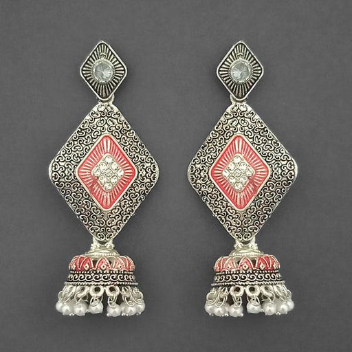 Kriaa Silver Plated Stone And Red Meenakari Matte Dangler Earrings