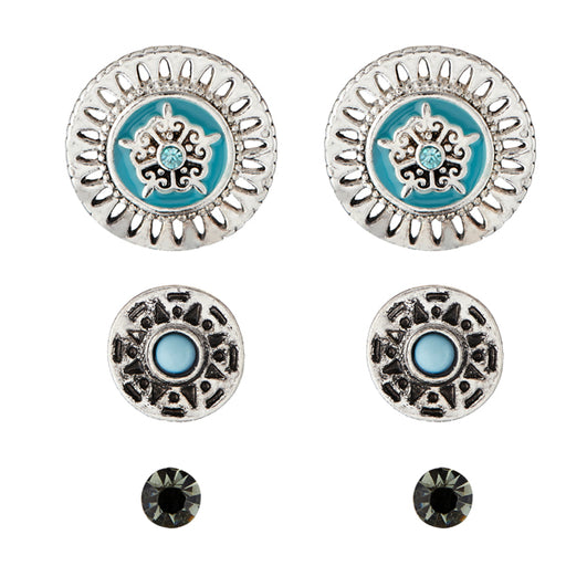 Kriaa Meenakari Rhodium Plated Stone Stud Earrings Set