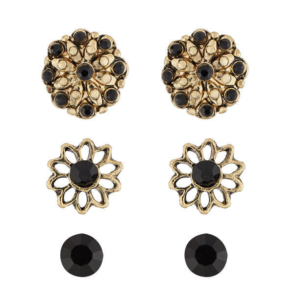 Kriaa Antique Gold Plated Stone Stud Earrings Set