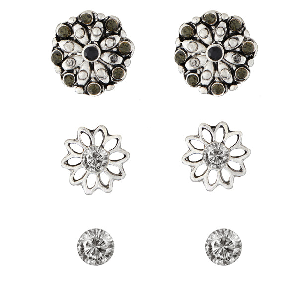 Kriaa Black Rhodium Plated Stone Stud Earrings Set