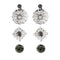 Kriaa Rhodium Plated Grey Stone Stud Earrings Set