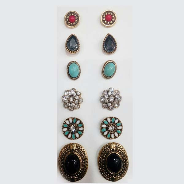 Kriaa Antique Stone Stud Earrings Combo