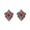 Kriaa Maroon Opaque Stone Rhodium Plated Stud Earrings