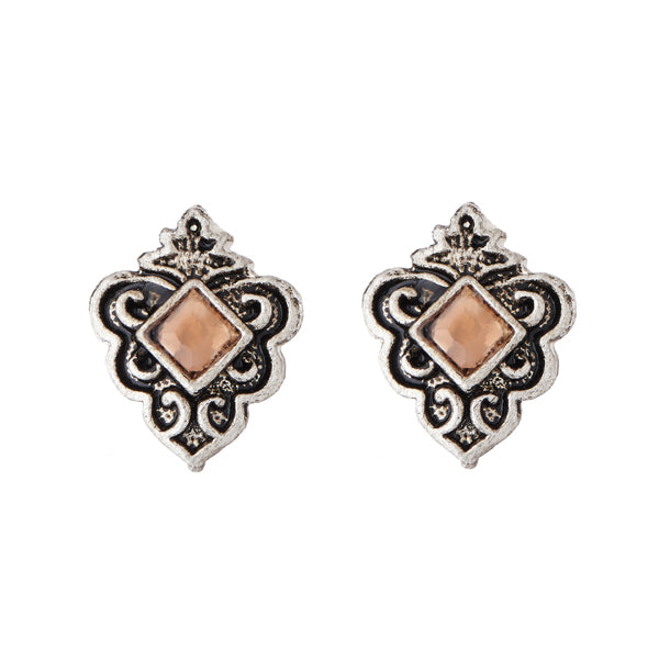 Kriaa Pitch Rhodium Plated Opaque Stone Stud Earrings