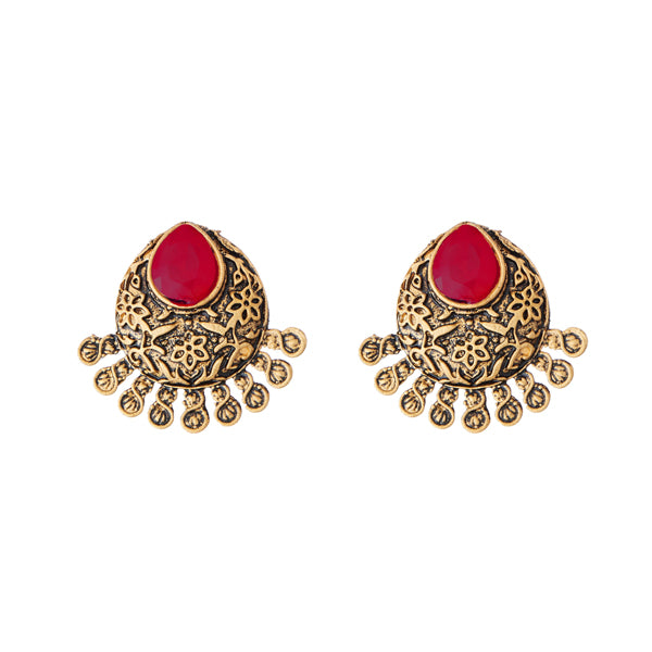 Kriaa Antique Gold Plated Maroon Opaque Stone Stud Earrings