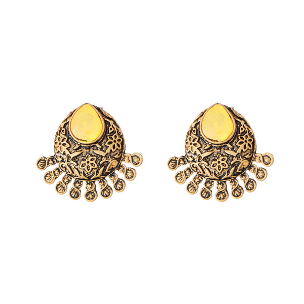 Kriaa Yellow Opaque Stone Antique Gold Stud Earrings