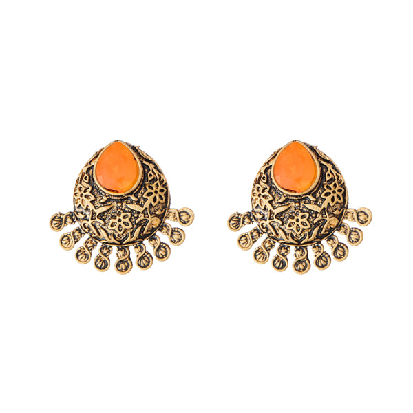 Kriaa Antique Gold Plated Yellow Opaque Stone Stud Earrings