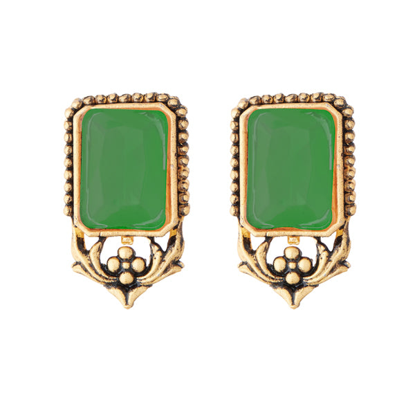 Kriaa Antique Gold Plated Green Opaque Stone Stud Earrings