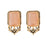Kriaa Antique Gold Plated Peach Opaque Stone Stud Earrings