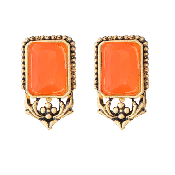 Kriaa Opaque Stone Antique Gold Plated Stud Earrings