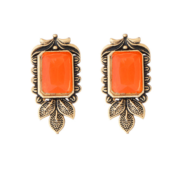 Kriaa Antique Gold Plated Orange Opaque Stone Stud Earrings
