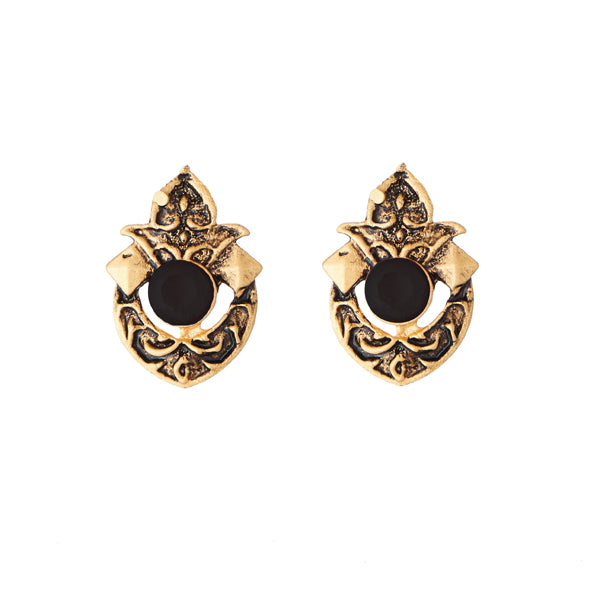 Kriaa Antique Gold Plated Black Opaque Stone Stud Earrings