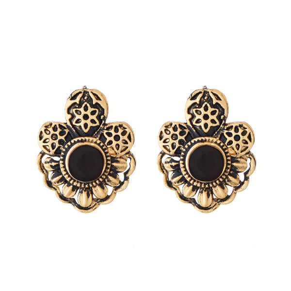 Kriaa Black Opaque Stone Antique Gold Plated Stud Earrings