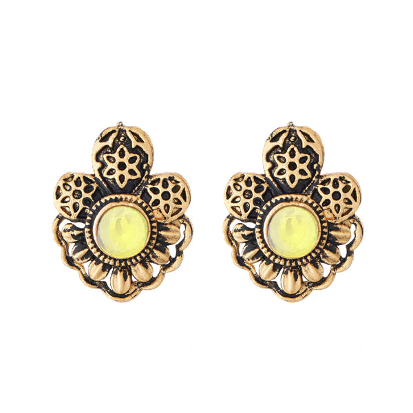 Kriaa Yellow Opaque Stone Antique Gold Plated Stud Earrings