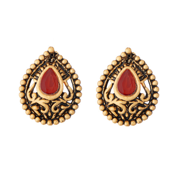 Kriaa Antique Gold Plated Opaque Stone Stud Earrings