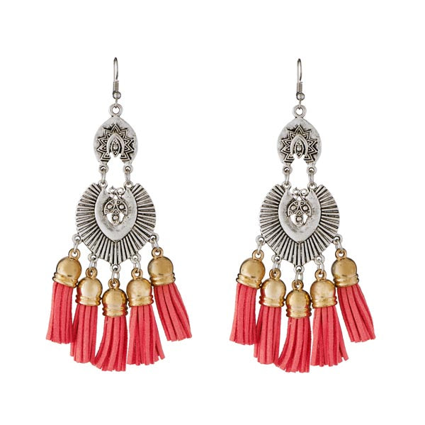 Jeweljunk 2 Tone Plated Red Thread Earrings