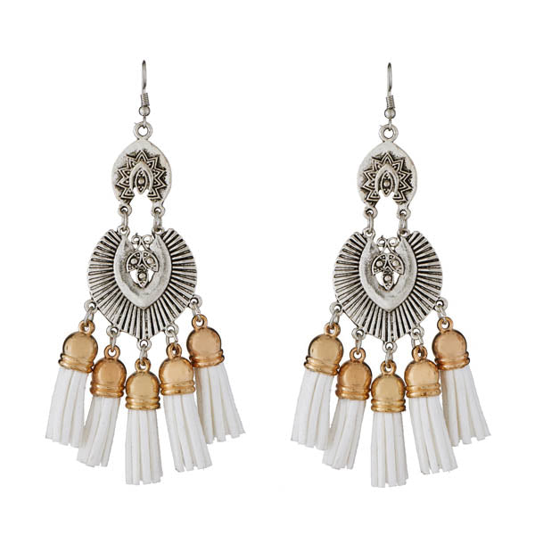 Jeweljunk White Thread 2 Tone Plated Earrings