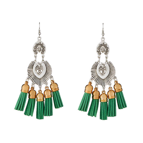 Jeweljunk 2 Tone Plated Green Thread Earrings