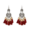 Jeweljunk Maroon Thread 2 Tone Plated Earrings
