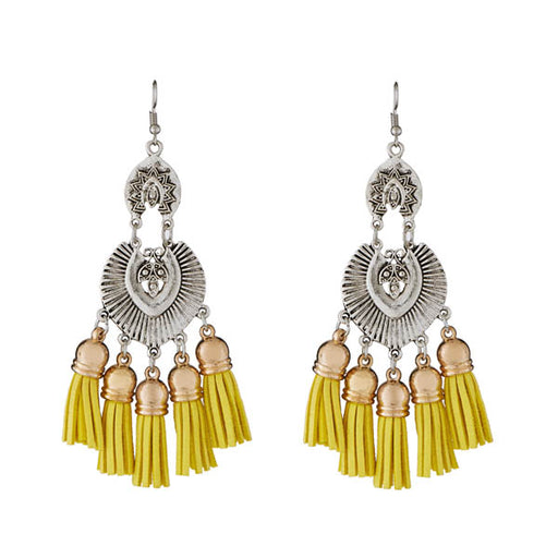 Jeweljunk Yellow Thread Rhodium Plated Earrings