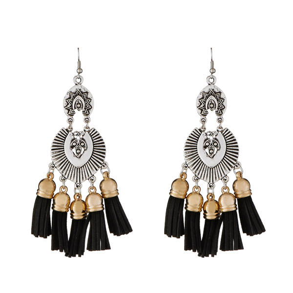 Jeweljunk 2 Tone Plated Black Thread Earrings