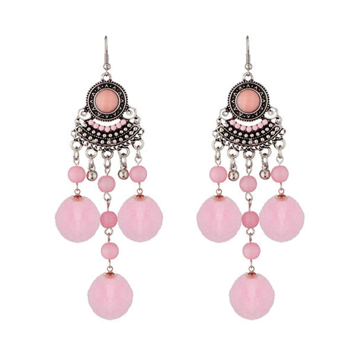 Jeweljunk Pink Rhodium Plated Thread Earrings